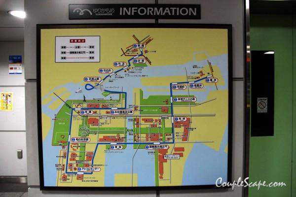 เที่ยวญี่ปุ่น - แผนที่ของรถไฟสาย Yurikamome