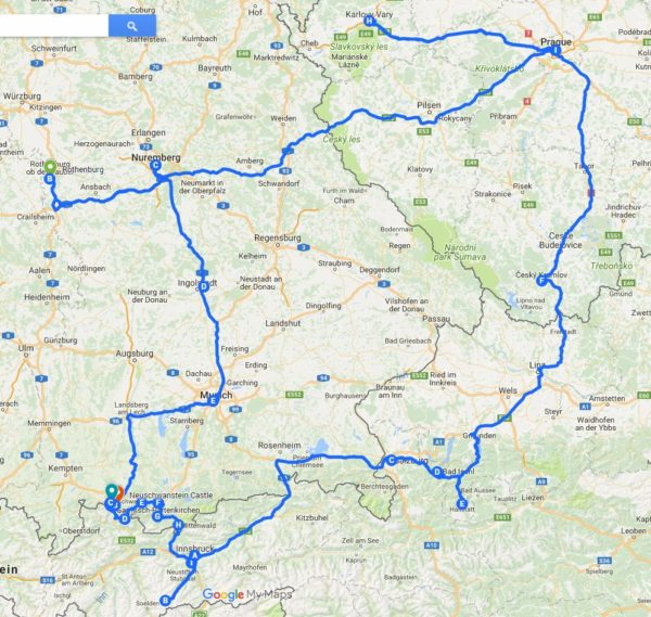 Europe Driving Route